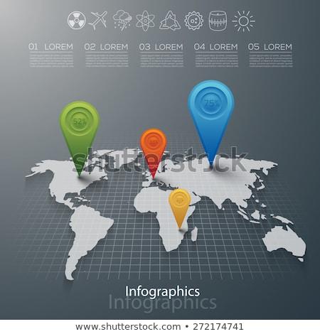 ストックフォト: ダイナミック · 3D · 世界地図 · ベクトル · ファイル · いくつかの