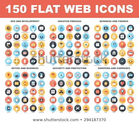 Multimédia ikon szett modern vektor ikonok kék Stock fotó © vectorikart