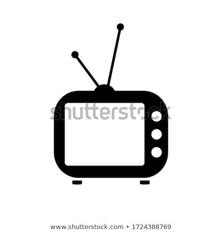 テレビ アイコン 古い ベクトル 黒 色 ストックフォト © aliaksandra