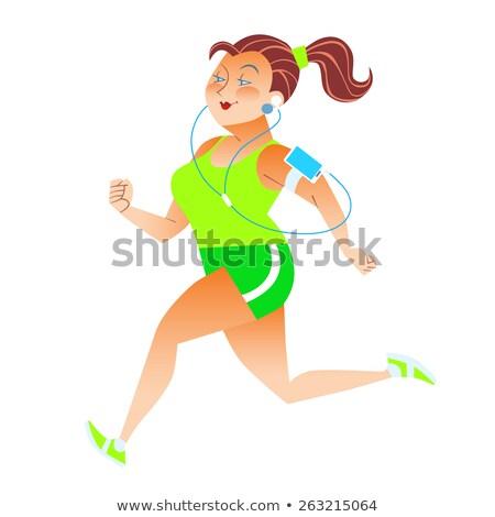 Sporty woman running herding weight kilocalories listens to musi Stock photo © studiostoks