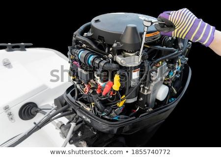 моторная · лодка · быстро · всплеск · океана · синий - Сток-фото © actionsports