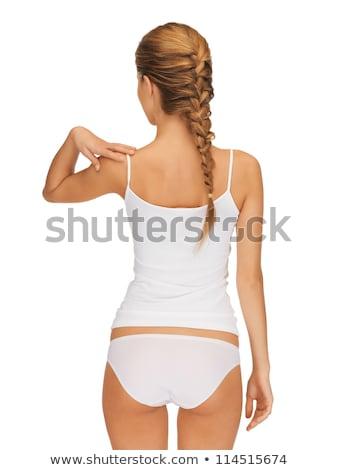 Foto stock: Bela · mulher · branco · algodão · roupa · interior · saúde · beleza