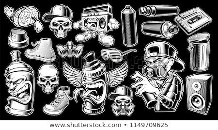 Maschera antigas ali grunge stile stilizzato parecchi Foto d'archivio © tracer