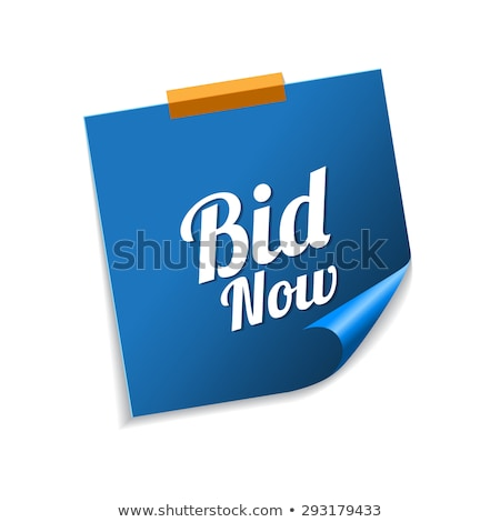 Bid Now Blue Sticky Notes Vector Icon Design Stock photo © rizwanali3d