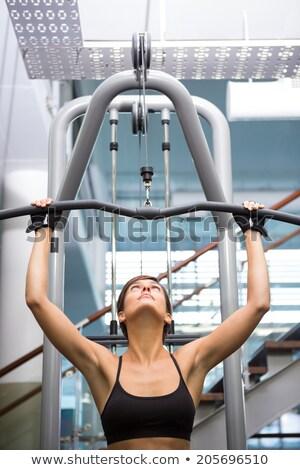 Nő testmozgás gép érett ázsiai felnőtt Stock fotó © iofoto
