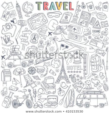 suitcase tourist and hand draw icon stock photo © netkov1