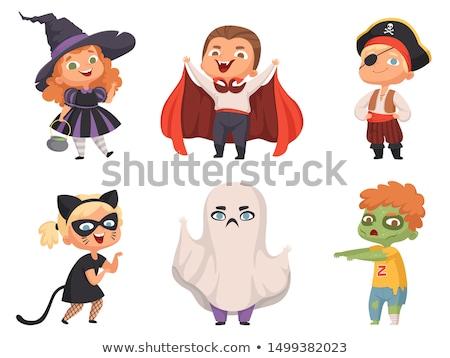 criança · vampiro · traje · halloween · ilustração · criança - foto stock © morphart