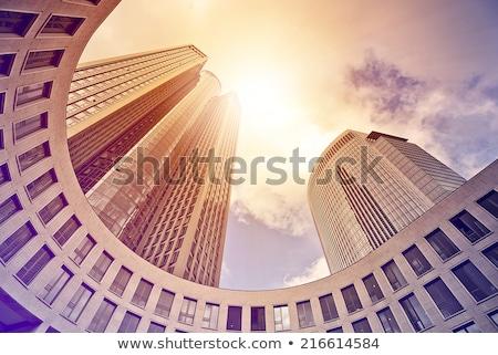 felhőkarcolók · pénzügyi · negyed · Frankfurt · fő- · Németország · éjszaka - stock fotó © amok