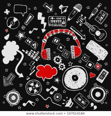 grammofoon · krijt · icon · vector - stockfoto © rastudio