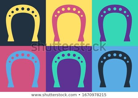 Gyűjtemény kézzel rajzolt kovács ikonok patkó sütő Stock fotó © netkov1