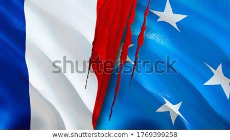 Frankrijk Micronesië vlaggen puzzel geïsoleerd witte Stockfoto © Istanbul2009