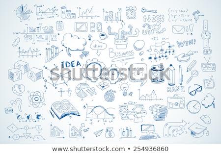 business doodles sketch set infographics elements isolated stock photo © davidarts