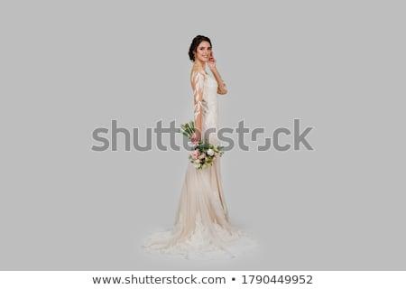 Feliz noiva em pé branco vestido de noiva retrato Foto stock © deandrobot