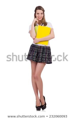 молодые · непослушный · студент · женщины · изолированный · белый - Сток-фото © elnur