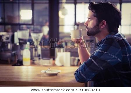Foto stock: Homem · potável · café · comida · casa · beber