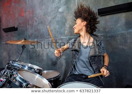 женщину играет барабаны девушки улыбка Сток-фото © deandrobot