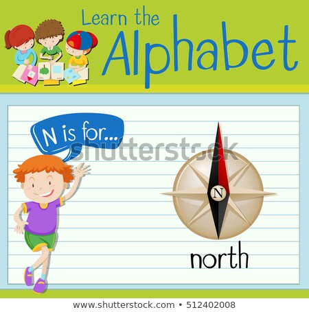 Flashcard letter N is for north Stock photo © bluering