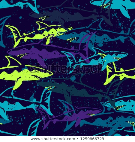 Underwater background with shark, vector illustration Stock photo © carodi