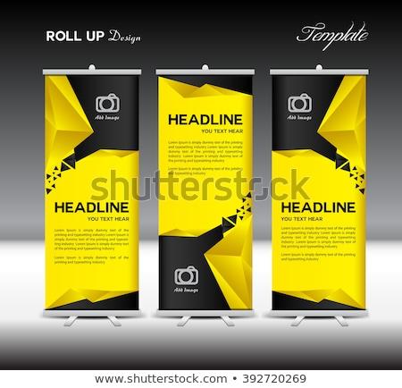 Stockfoto: Geel · zwarte · rollen · omhoog · banner · sjabloon