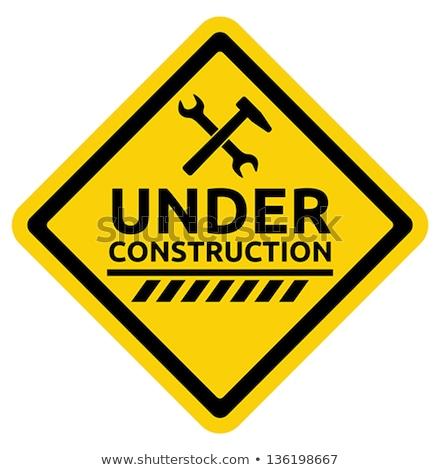 építkezés felirat illusztráció fehér fa levél Stock fotó © bluering