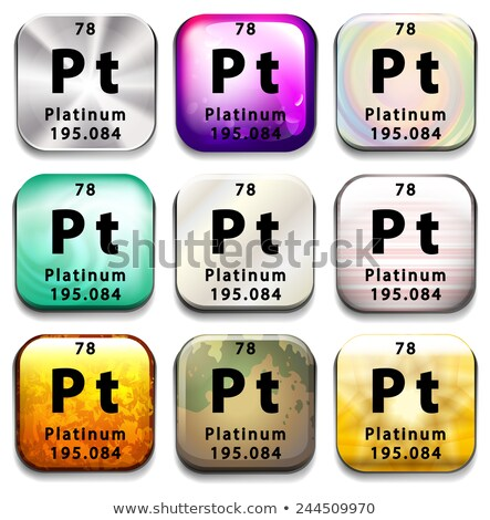A periodic table button showing the Platinum Stock photo © bluering