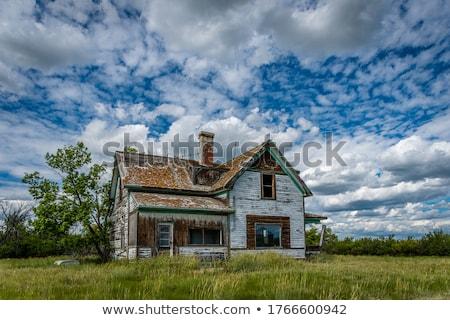 velho · fazenda · edifícios · pôr · do · sol · inverno · nascer · do · sol - foto stock © pictureguy