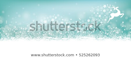 cyan christmas card header snowflakes reindeer stock photo © limbi007