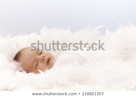 Stock photo: newborn baby with white feather in nest. Portrait of adorable ne