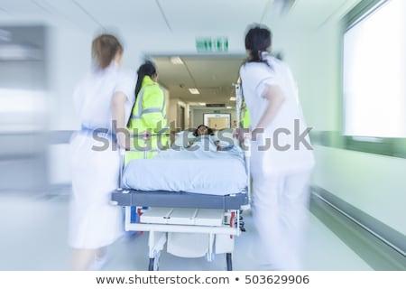 Lány sürgősségi ellátás illusztráció kórház fájdalom törődés Stock fotó © adrenalina