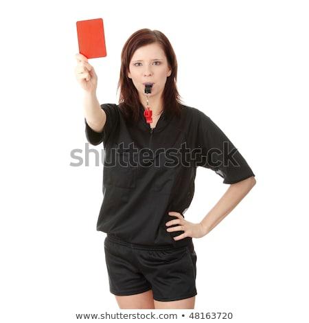 Női döntőbíró tart piros kártya portré Stock fotó © AndreyPopov