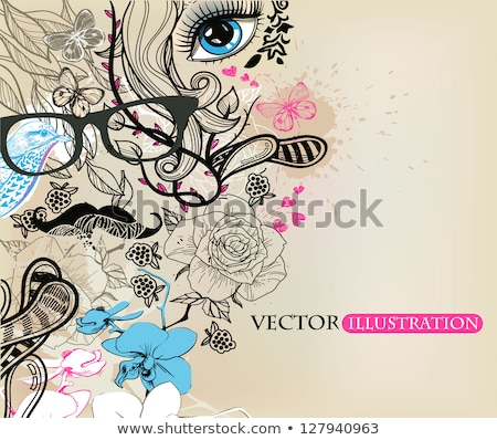 beauty woman with face art and jewelry from flowers orchids clos Stock photo © iordani