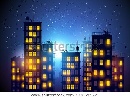 Ilustração grande noite da cidade estilizado cidade centro da cidade Foto stock © Vertyr