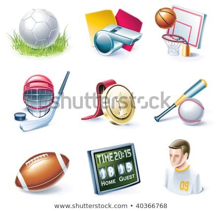 Rood baseball helm icon cartoon stijl Stockfoto © ylivdesign