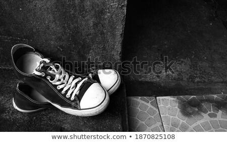 Skateboard and shoes on concrete flooring Stock photo © stevanovicigor