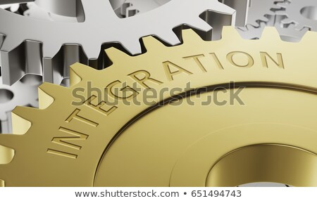 Metal gear wheels with the engraving Integration - 3d render Stock photo © Zerbor