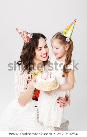 Stockfoto: Oeder · En · Dochter · Met · Verjaardagstaart · Glimlachen
