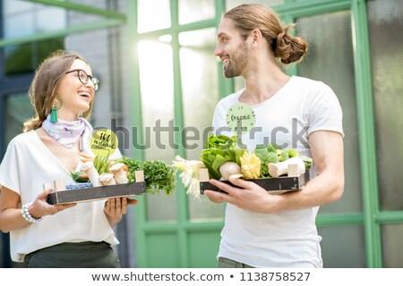 Heureux permanent organique jardin homme Photo stock © Jesussanz