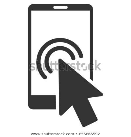 Okostelefon nyíl ikon szürke szimbólum piktogram Stock fotó © ahasoft