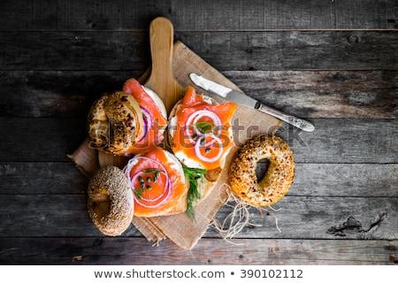 ベーグル サンドイッチ 鮭 白 食品 ストックフォト © Digifoodstock