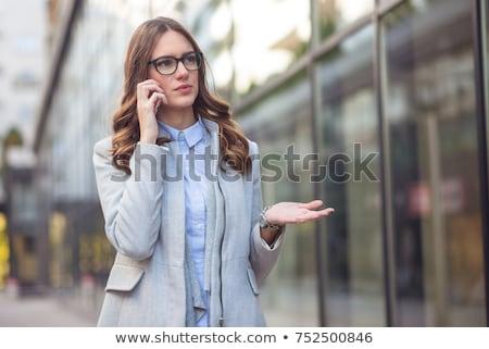 vonzó · üzletasszony · telefon · vektor · iroda · munka - stock fotó © studiostoks