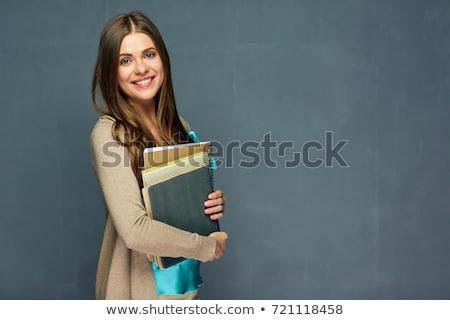 souriant · secrétaire · note · livre · joli - photo stock © nobilior