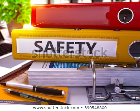 caution on binder blurred image 3d stock photo © tashatuvango