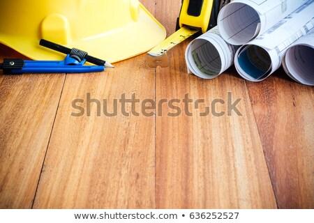 Amarelo capacete de segurança arquitetura escritório estúdio secretária Foto stock © stevanovicigor