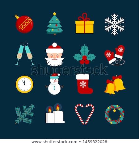 Noel hediyeler süslemeleri arka plan kırmızı sunmak Stok fotoğraf © dariazu