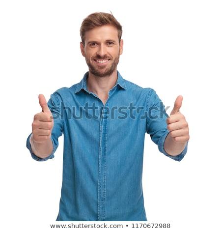 счастливым случайный человека вызывать рукой знак Сток-фото © feedough