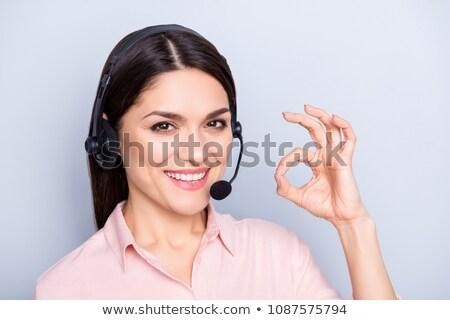 lány · fejhallgató · mikrofon · fekete · sziluett · fehér - stock fotó © orensila