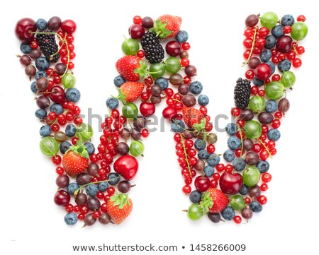 Letter W Strawberry font. Red Berry lettering alphabet. Fruits A Stock photo © popaukropa