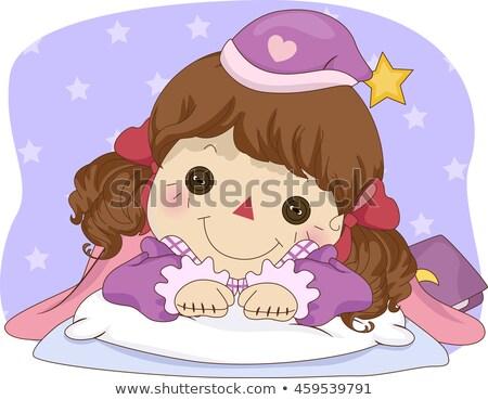 Kid Mädchen Stoffpuppe Schlaf Zeit Illustration Stock foto © lenm