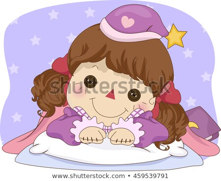 Kid девушки тряпичная кукла спать время иллюстрация Сток-фото © lenm