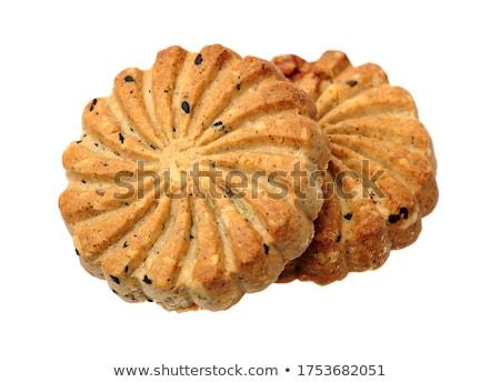 Egészséges bio reggeli gabona kekszek fehér Stock fotó © DenisMArt